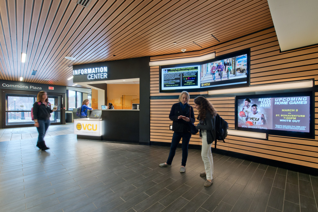 The information desk inside of VCU's student commons building.