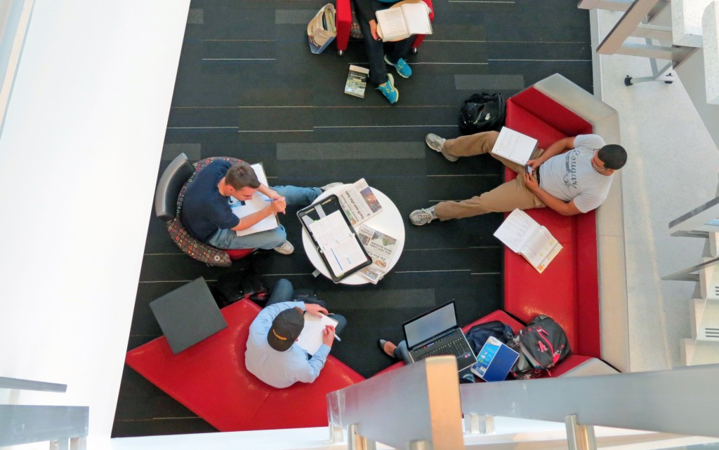 college students collaborating in a lounge environment