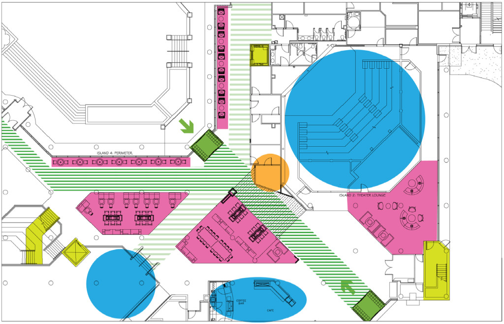 An architectural plan that uses color to show high traffic areas and other points of interest.